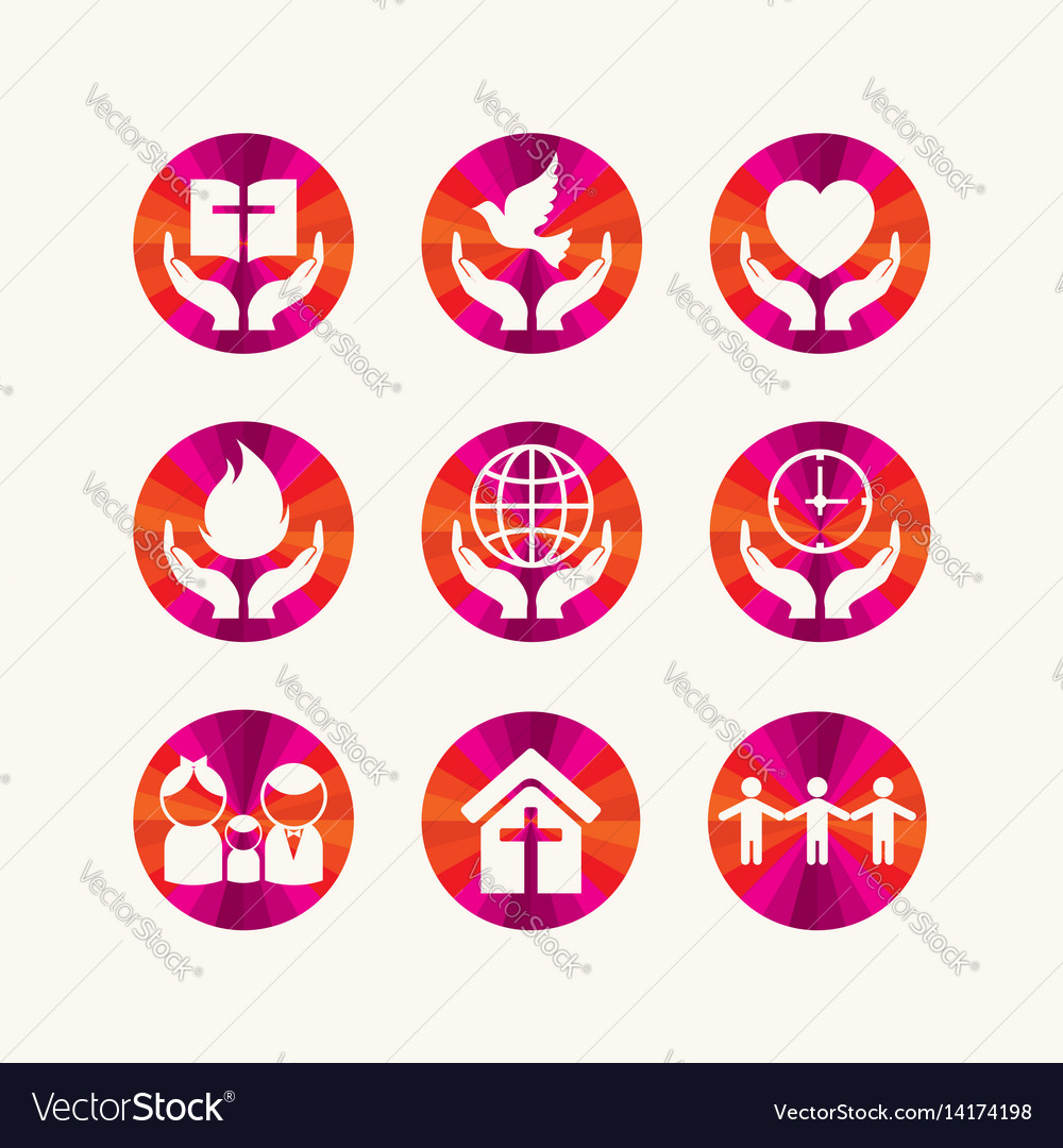 Set of christian symbols vector image