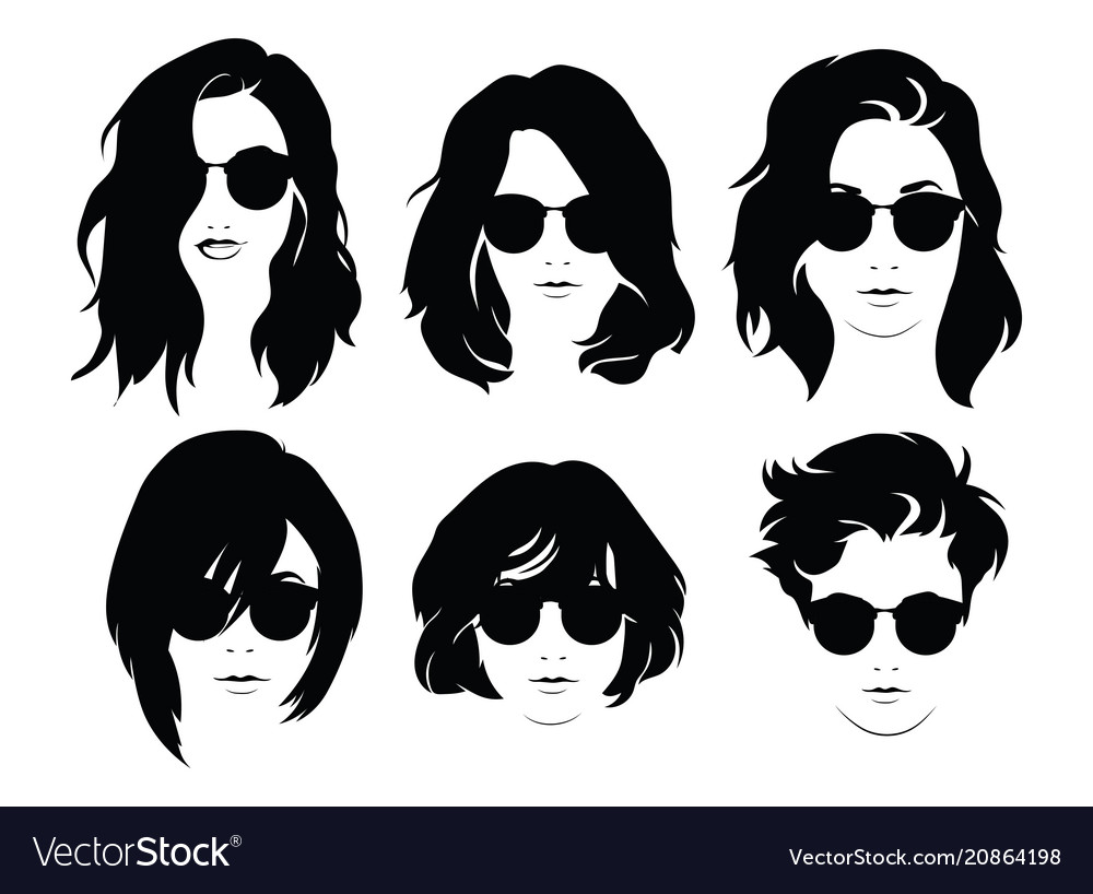 Set of hairstyles for women with glasses