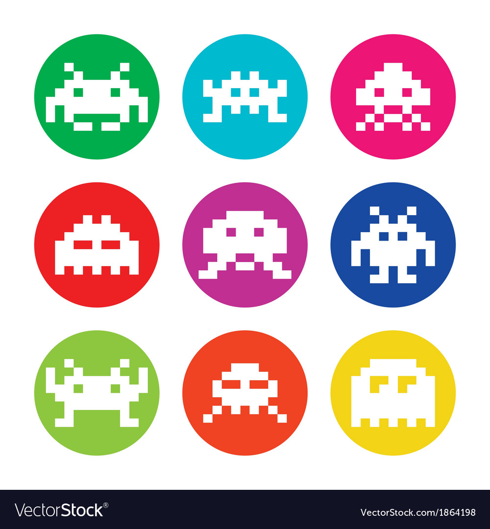 Space invaders 8bit aliens round icons set