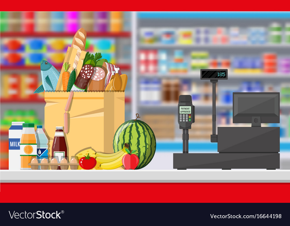 Supermarket store interior with goods