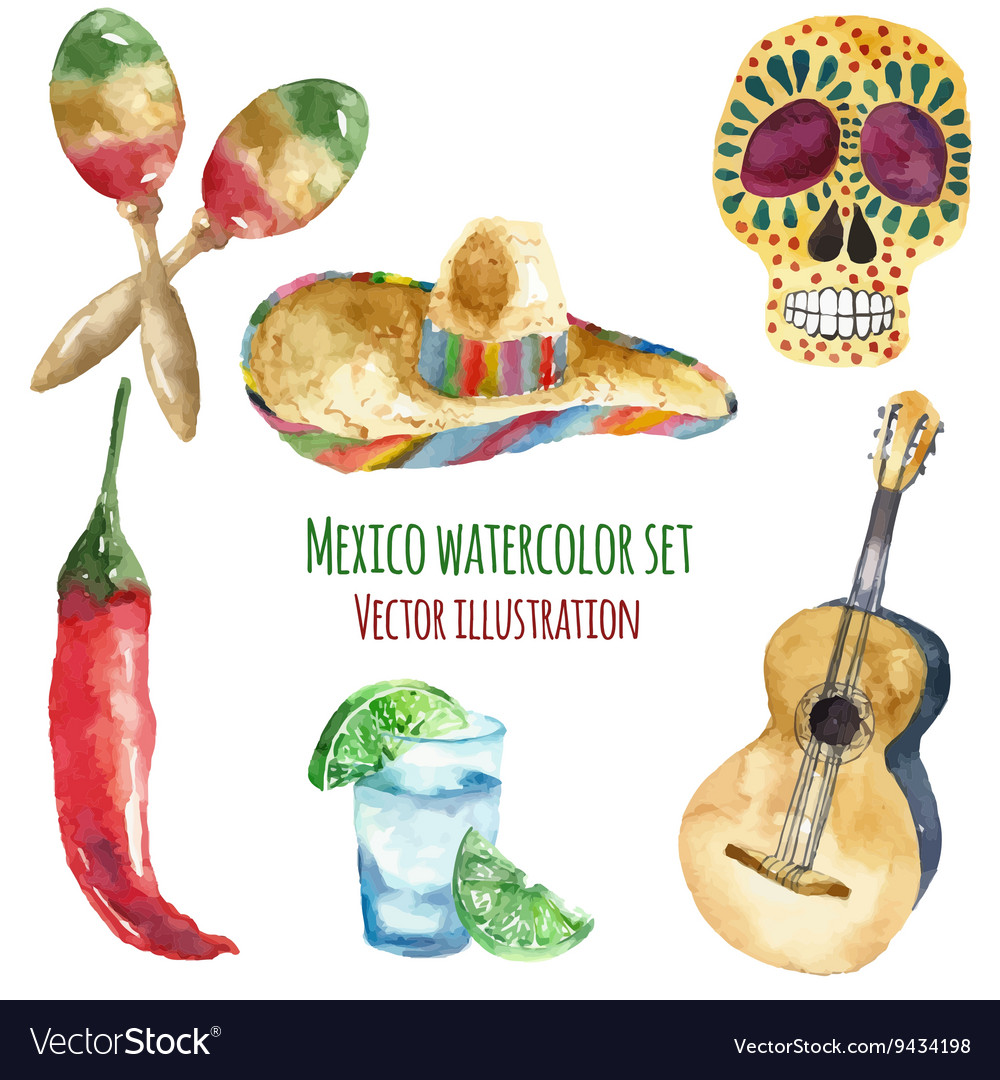 Travel Concept Mexico Landmark Watercolor Icons