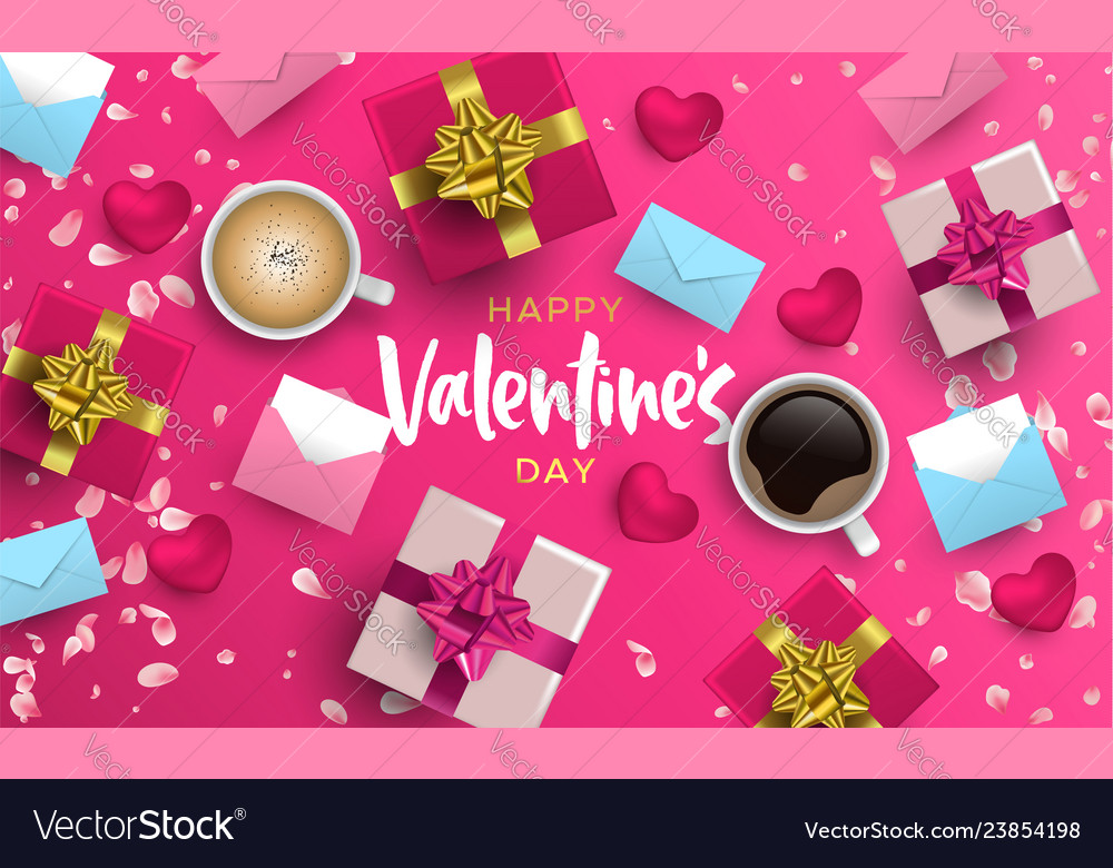 Valentines day 3d pink love layout greeting card