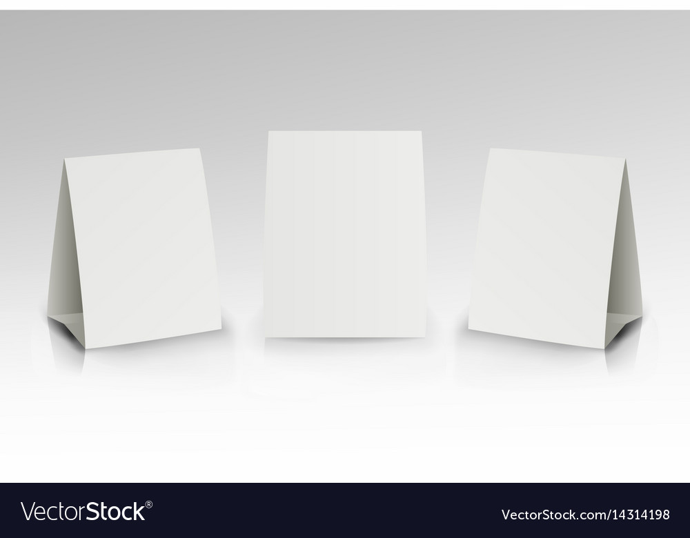 White Paper Stand Table Tag Flyer Vector Image