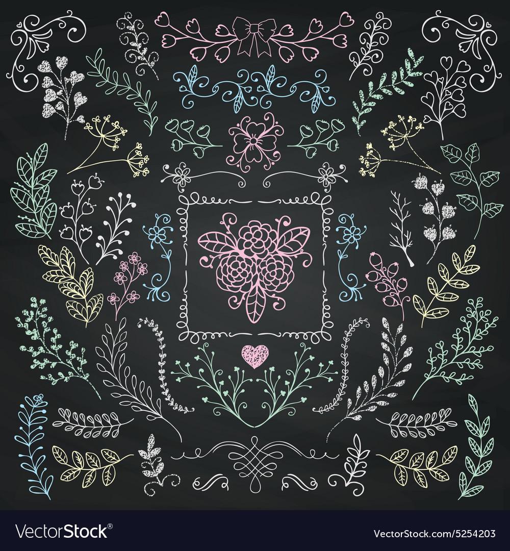 Board Menu Hand Sketched Rustic Floral Doodle