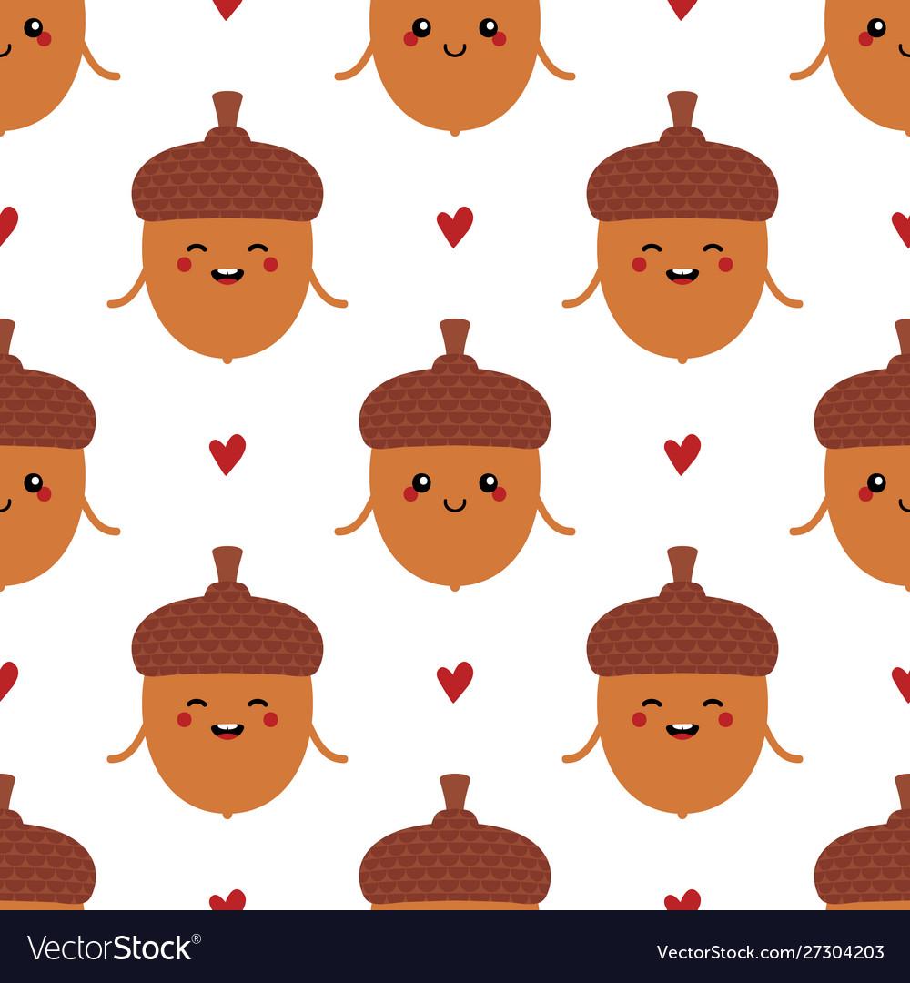 Cartoon acorn characters and hearts pattern