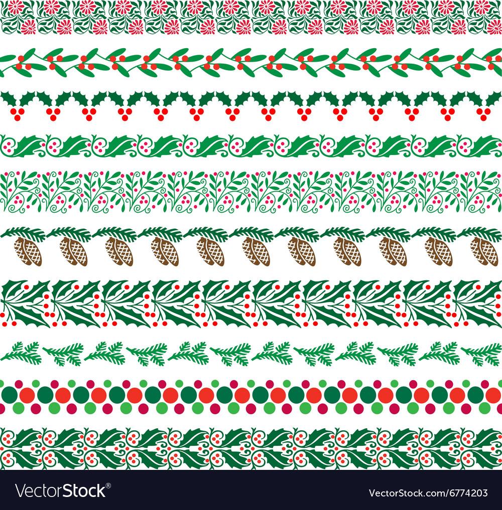 Christmas border patterns Royalty Free Vector Image