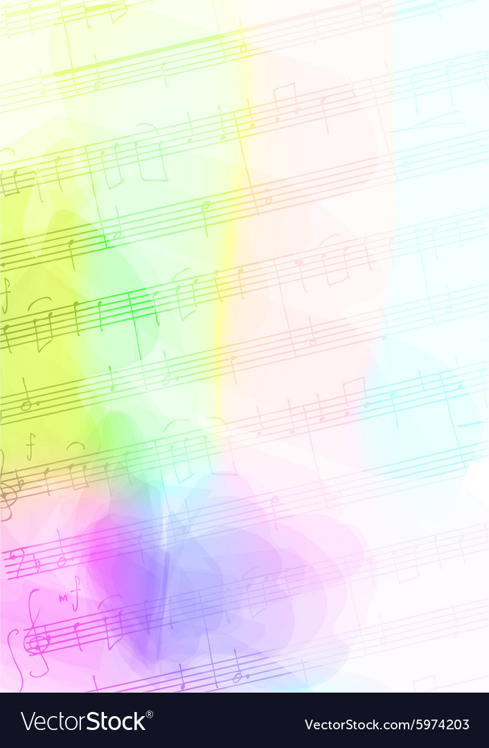 Colour Background with handmade musical notes