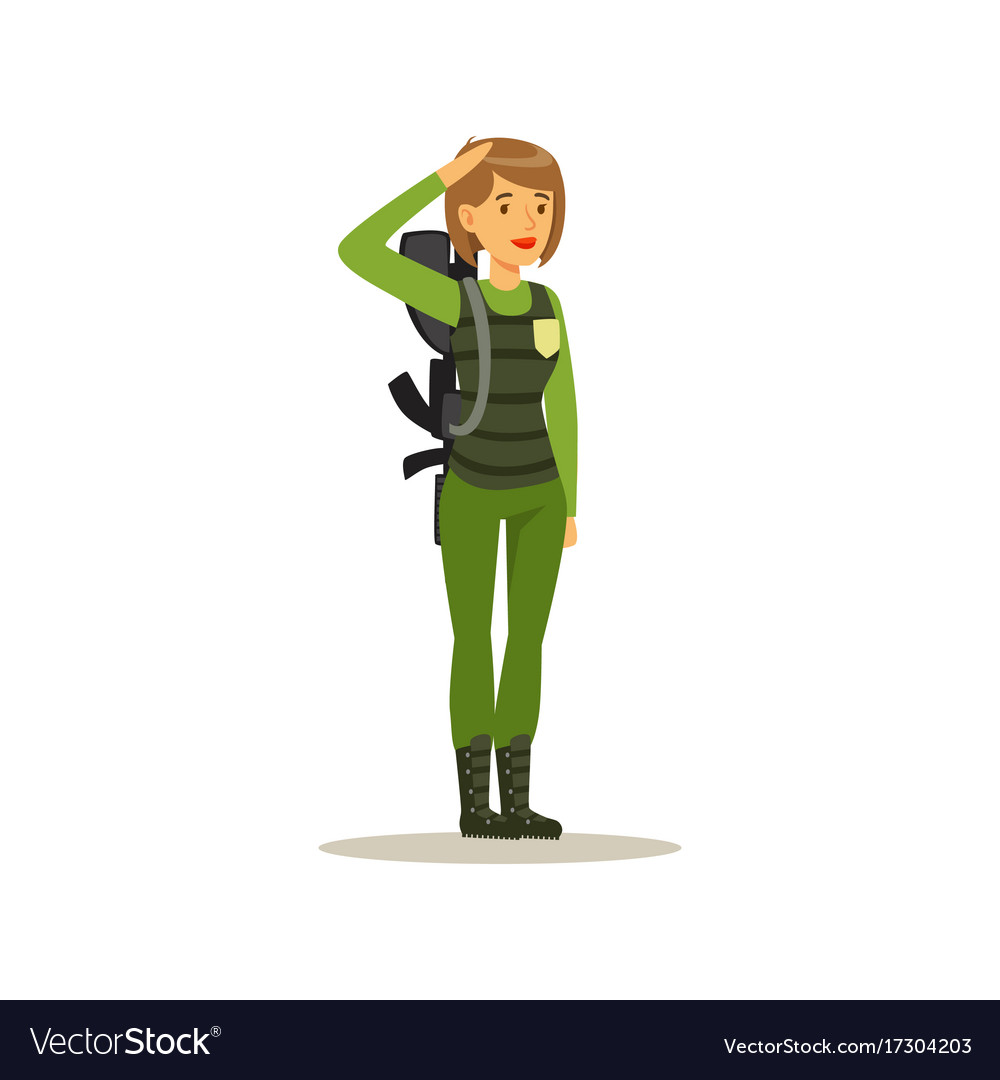 Female soldier character in camouflage combat