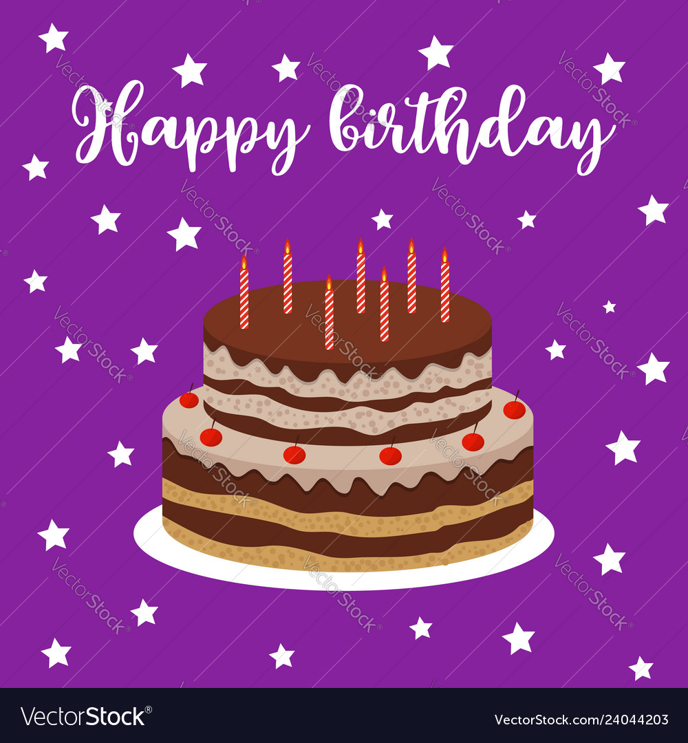 Brilliant Happy Birthday Greeting Card With Cake Royalty Free Vector Funny Birthday Cards Online Fluifree Goldxyz
