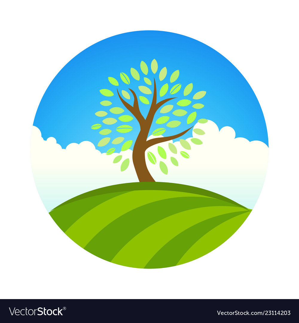 Logo with landscape of eco garden or park tree