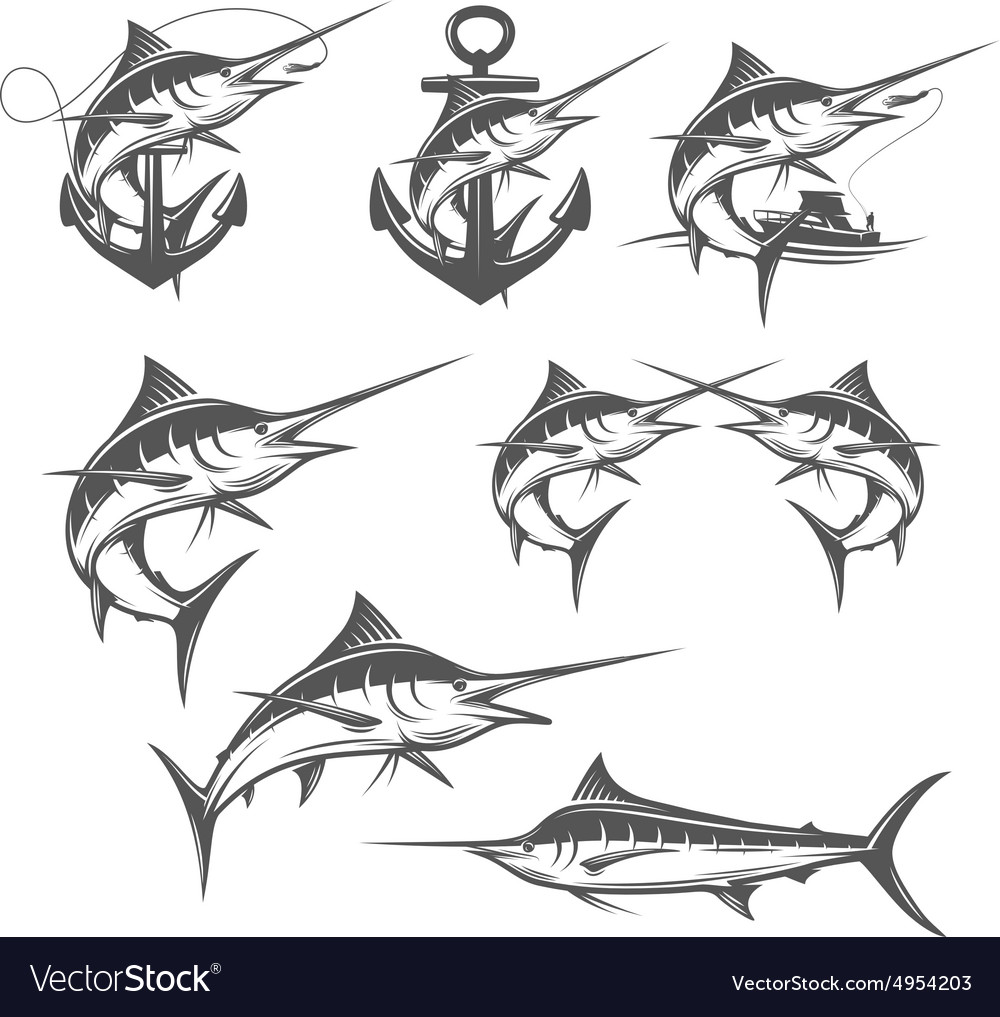 Marlin fishing emblems badges and design elements
