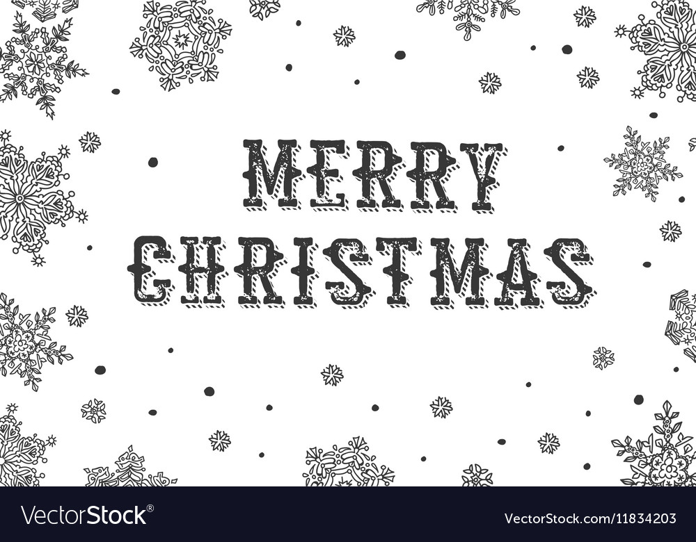 Merry Christmas Greeting Black and white
