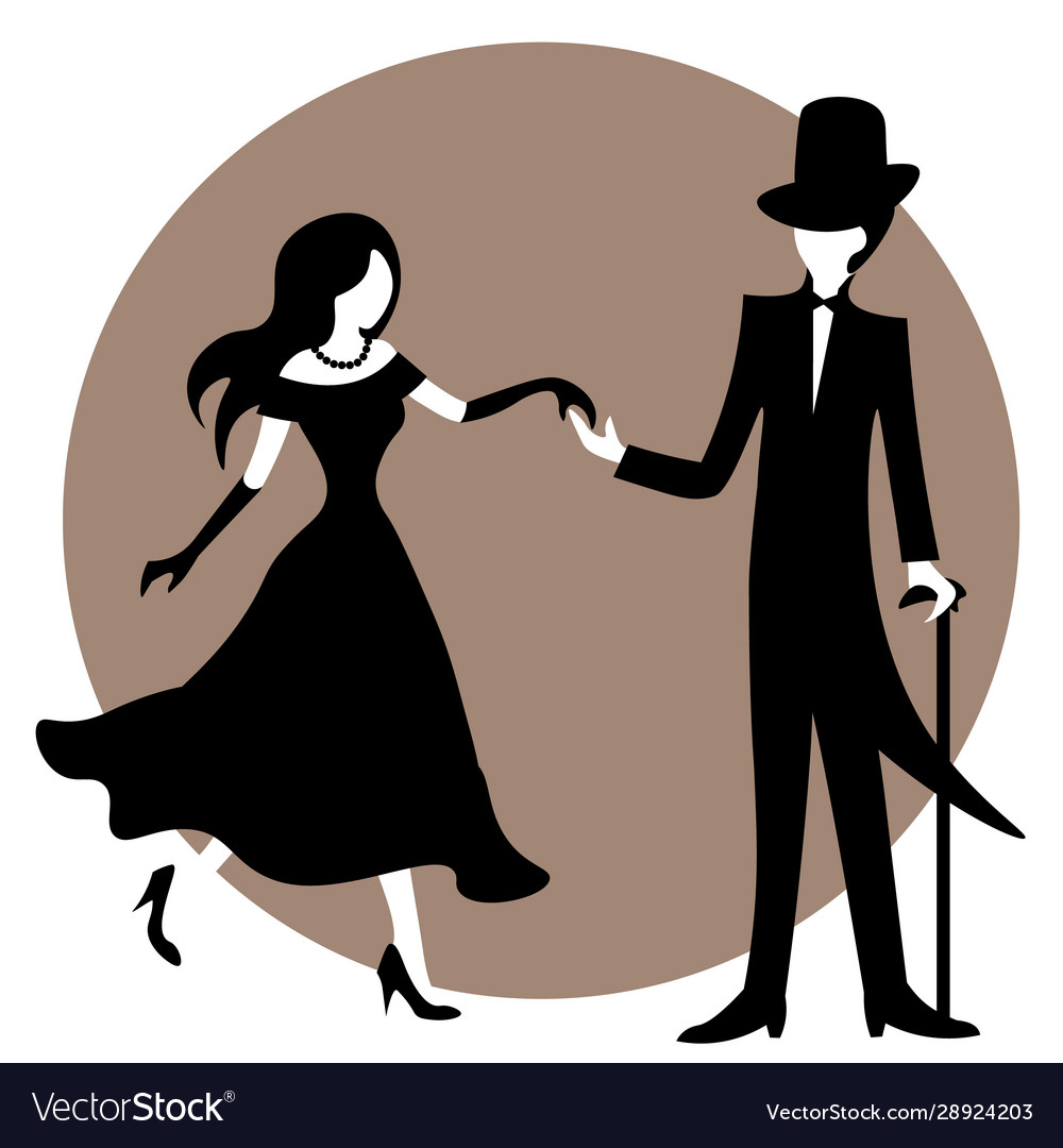 Old fashioned couple in black and white holding