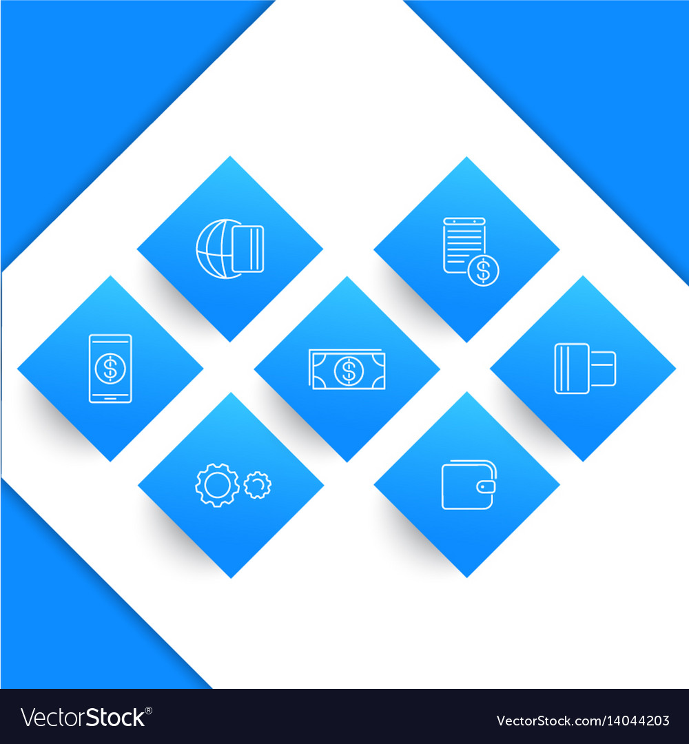 Payment methods types line icons vector image