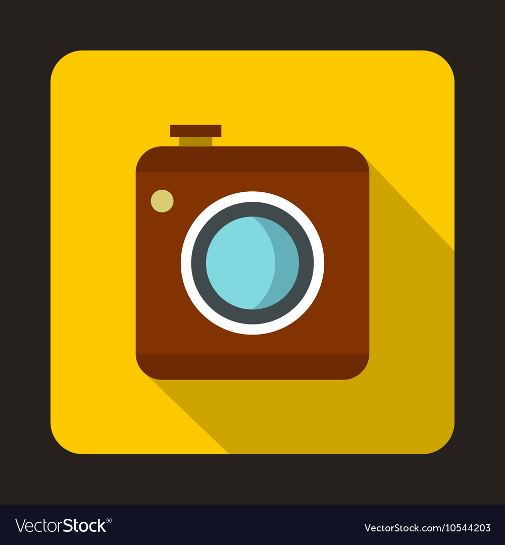 Photo camera icon flat style