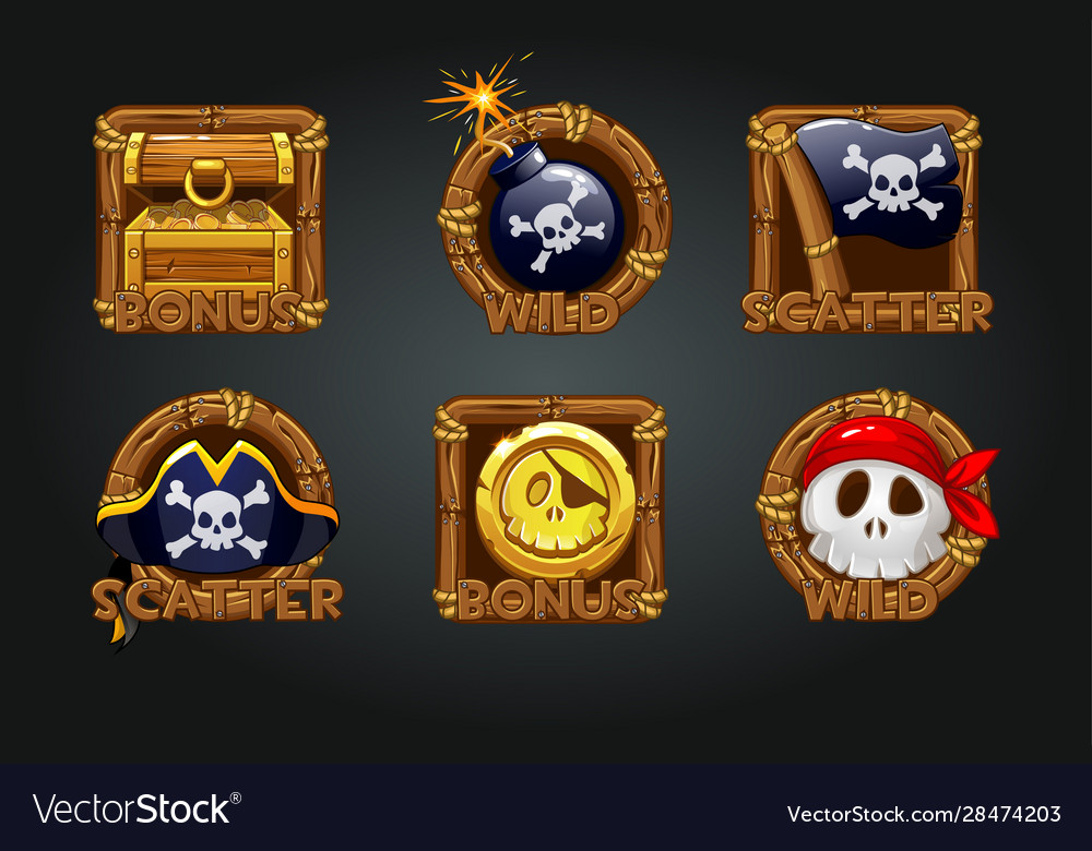 Pirate icons in wooden frames for slots