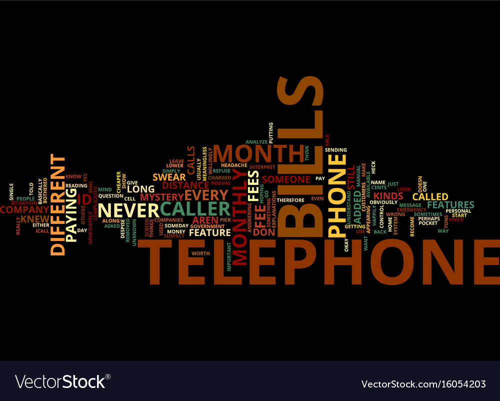 Telephone bills text background word cloud concept vector image