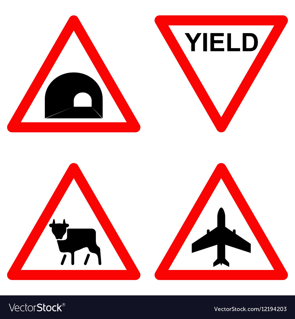 Traffic signs set on white background