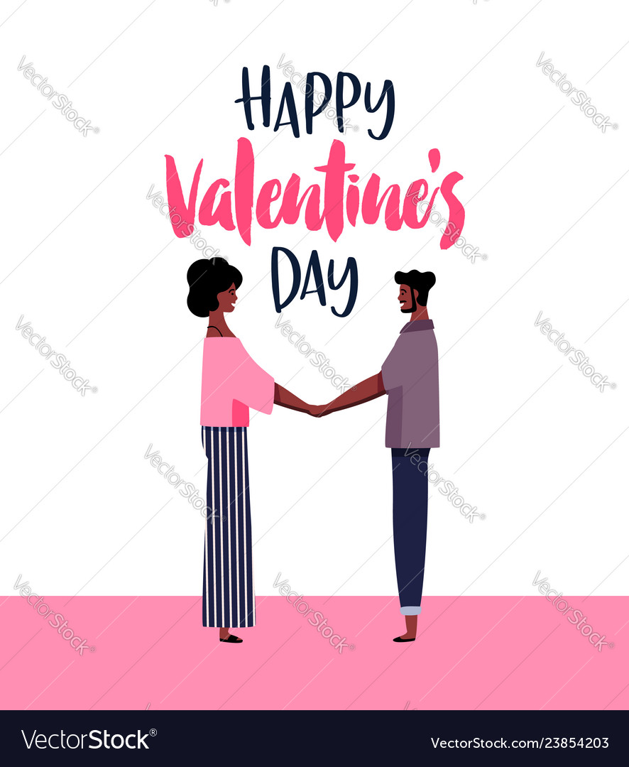 Valentines day card of afro man and woman in love