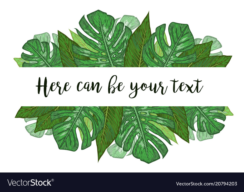 Watercolor a banner with monstera and