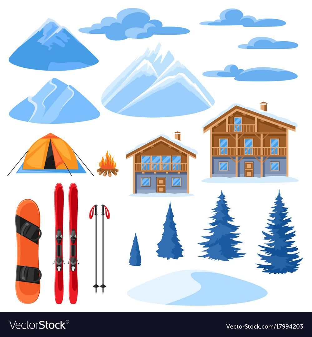 Winter set for design alpine chalet houses vector image