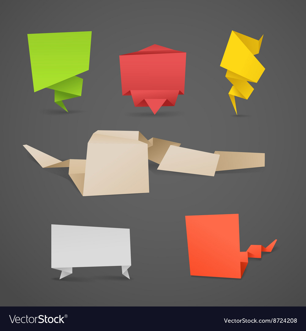 Colorful polygonal origami banners set vector image