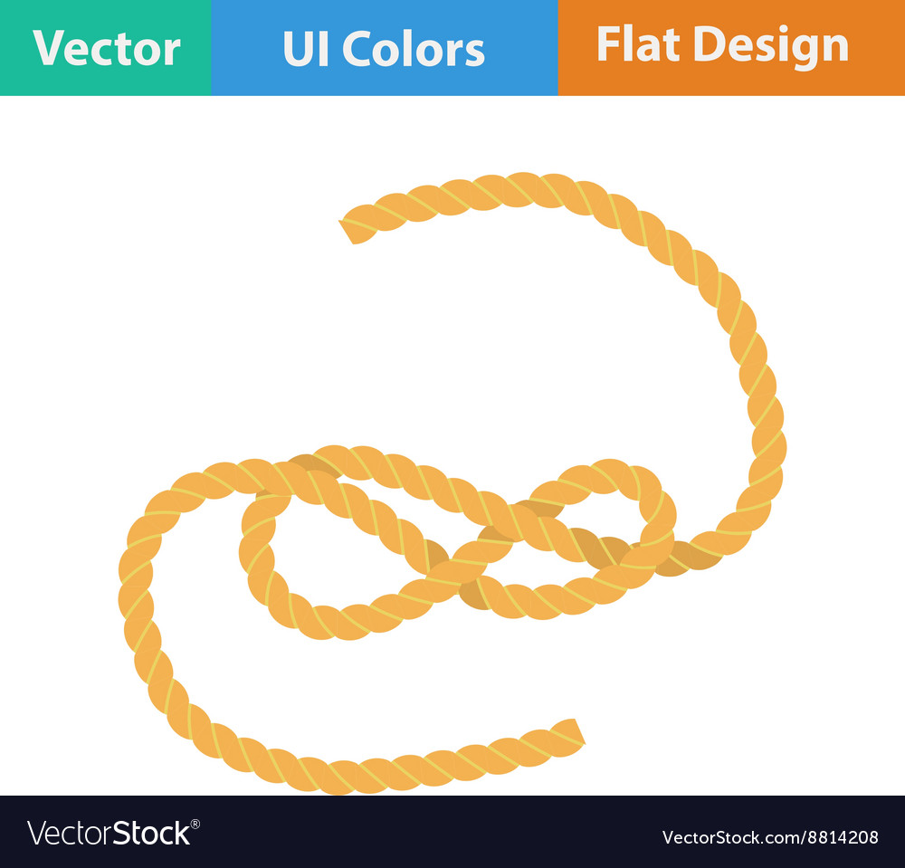 Flat design icon of rope vector image
