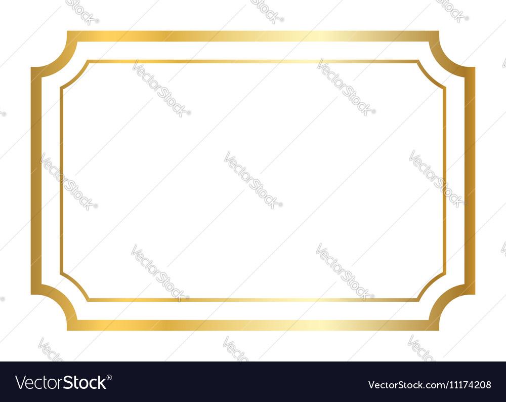 Gold frame golden white vector image