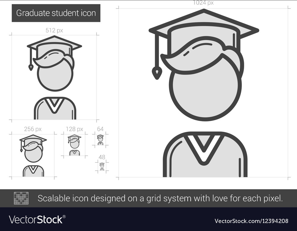 Graduate student line icon