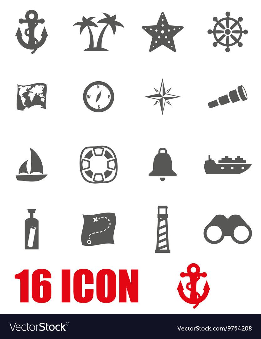 Grey nautical icon set
