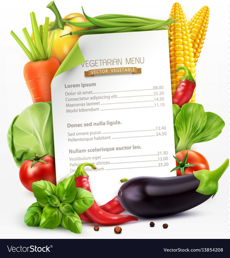 Menu with vegetables