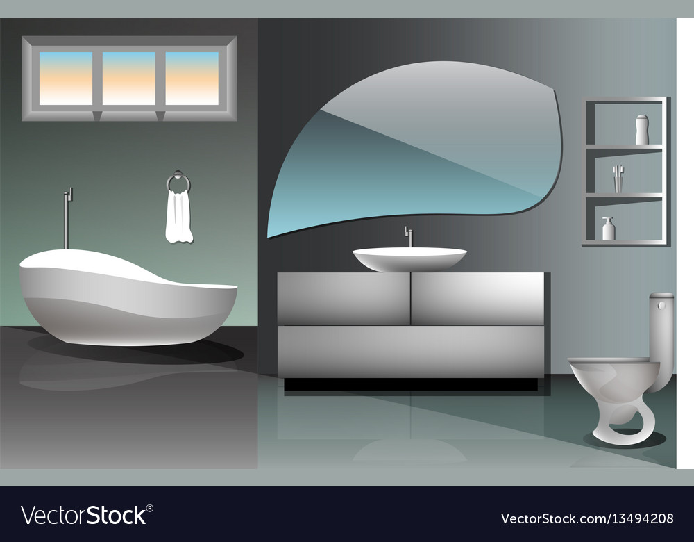 Modern bathroom interior design flat