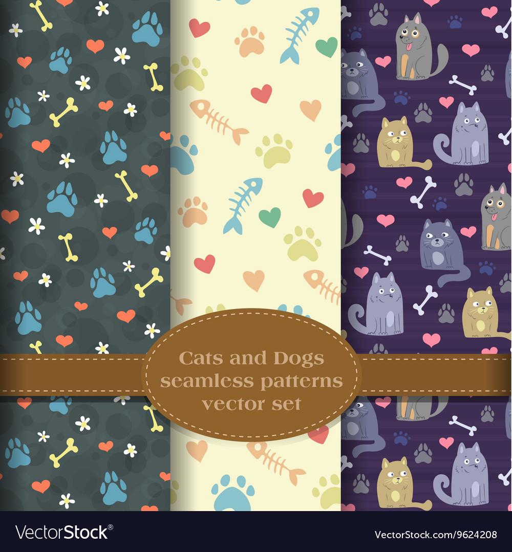 Pet theme patterns set