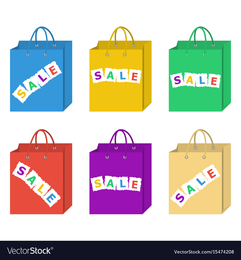 Sale shopping bag set in six different colors set