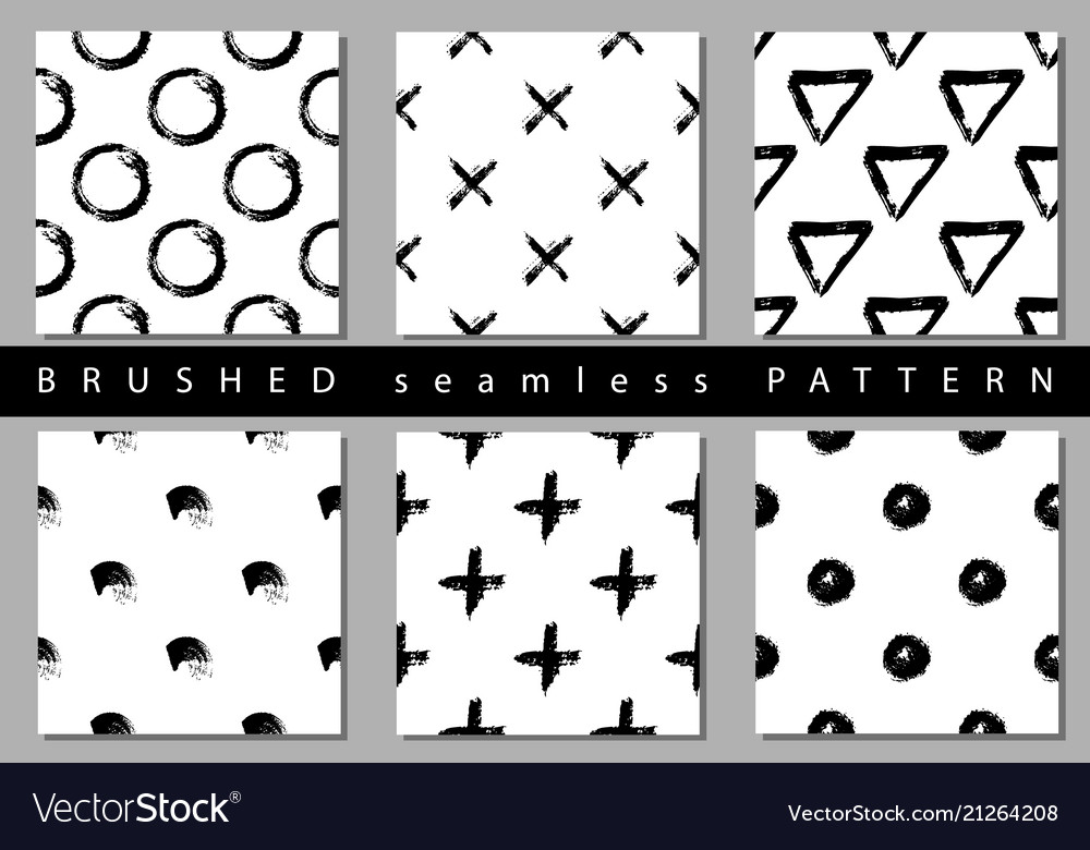 Set seamless pattern with brush stripes and