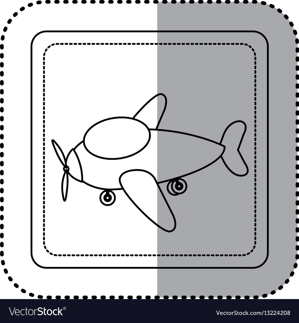 Sticker silhouette square button cartoon airplane