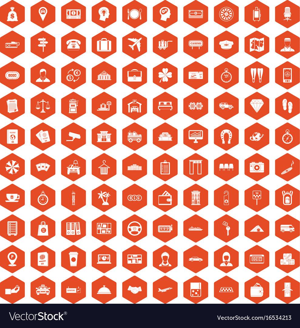 100 paying money icons hexagon orange