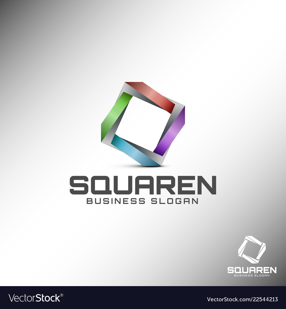 abstract 3d square logo template royalty free vector image