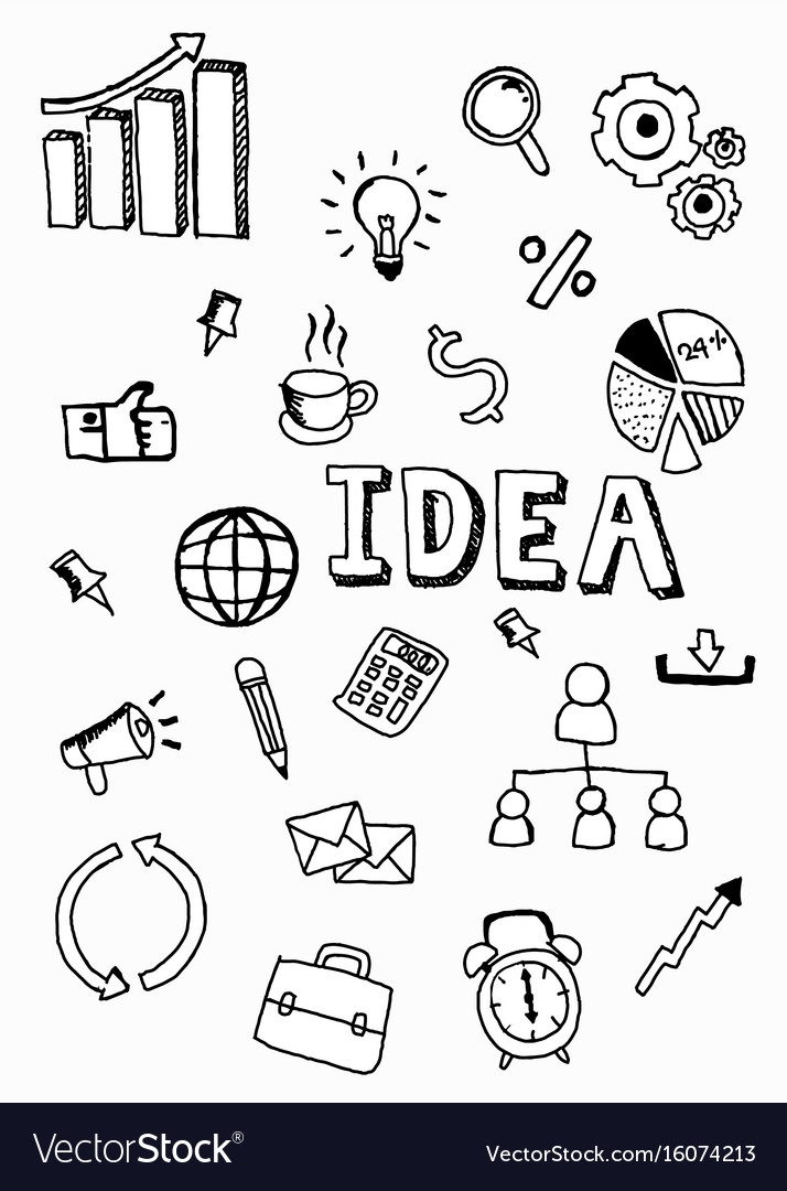 Business doodle icon with idea word