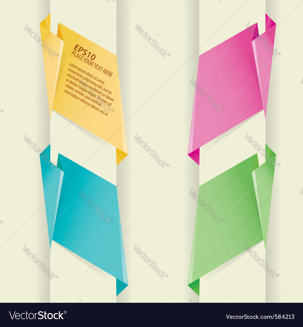 Collect paper origami banner element for design