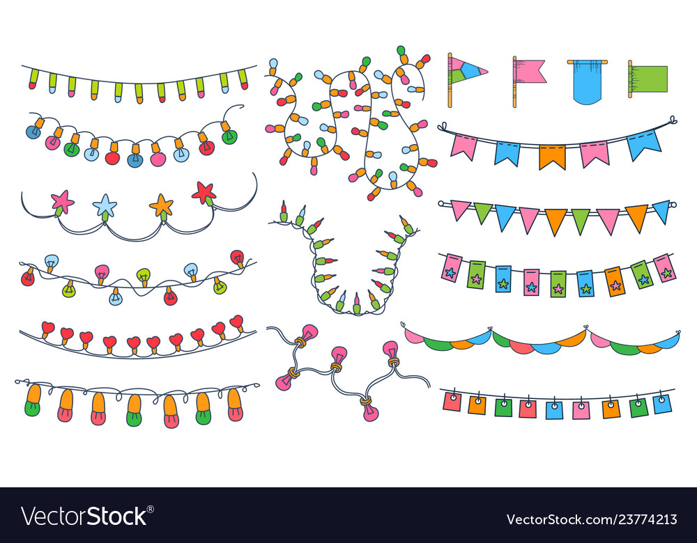 Colorful bunting party flags festival birthday