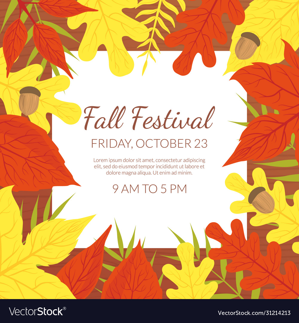 Fall festival banner template with bright autumn