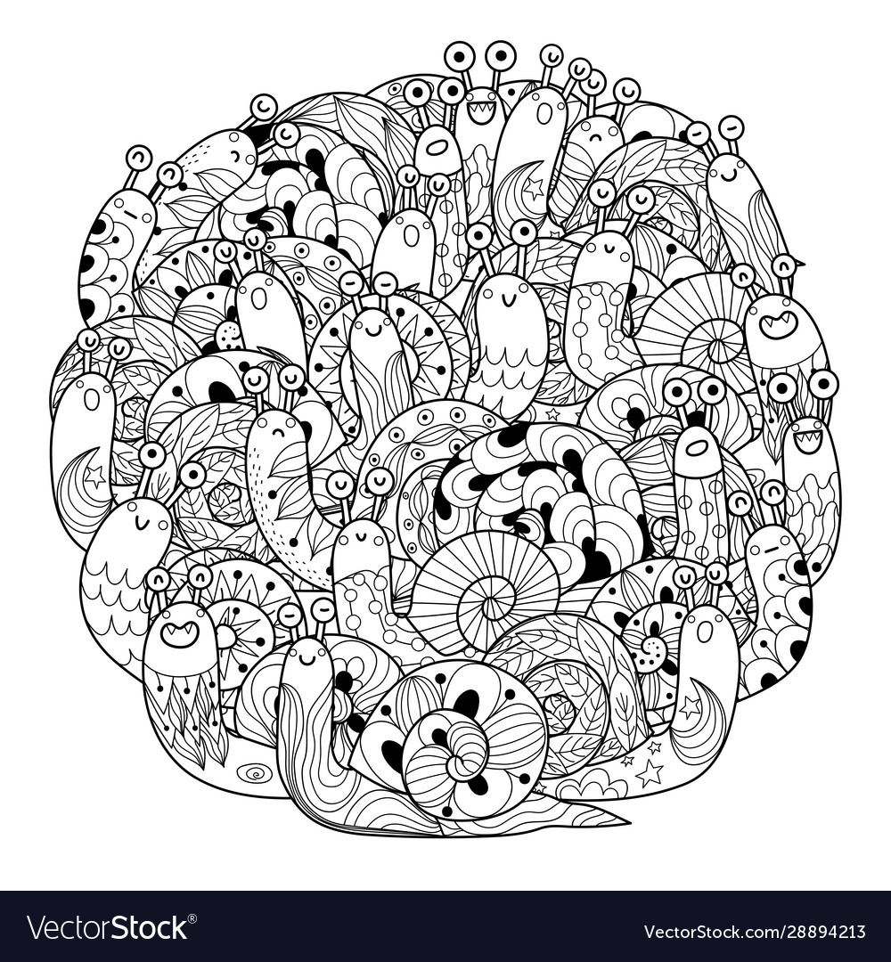 Funny Snails Circle Shape Coloring Page For Adults