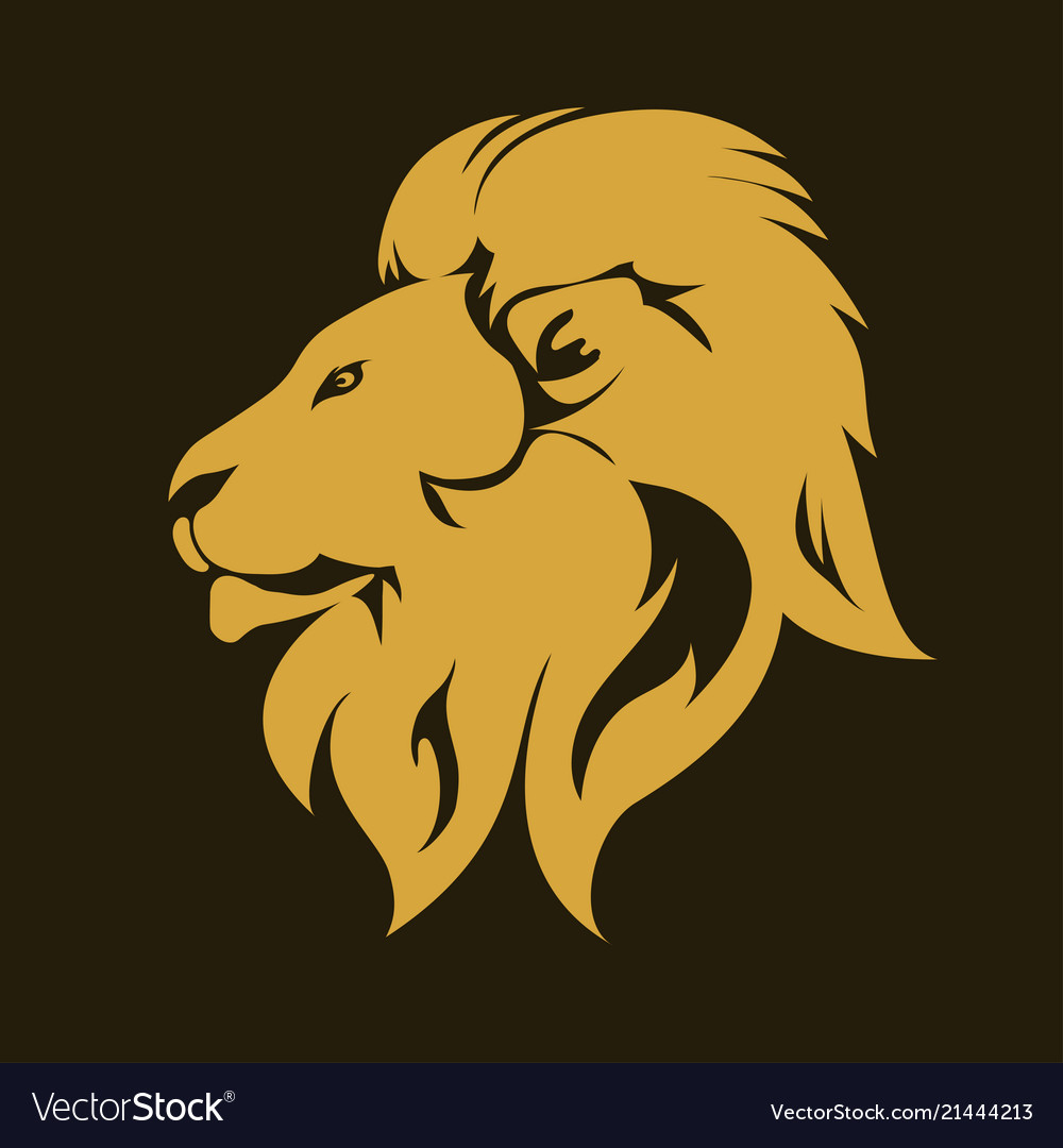 Lion animal portrait emblem