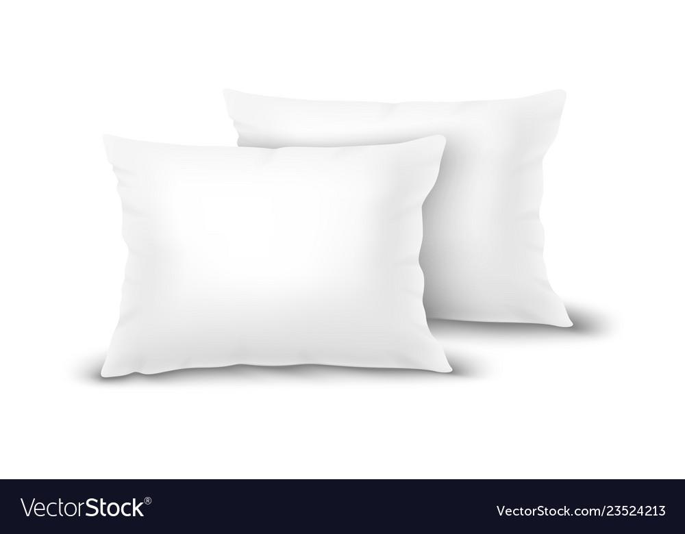 Realistic 3d white pillow set closeup