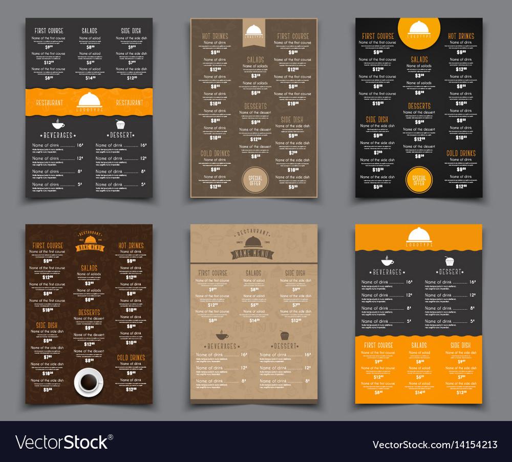 Set a4 menu for restaurants and cafes templates