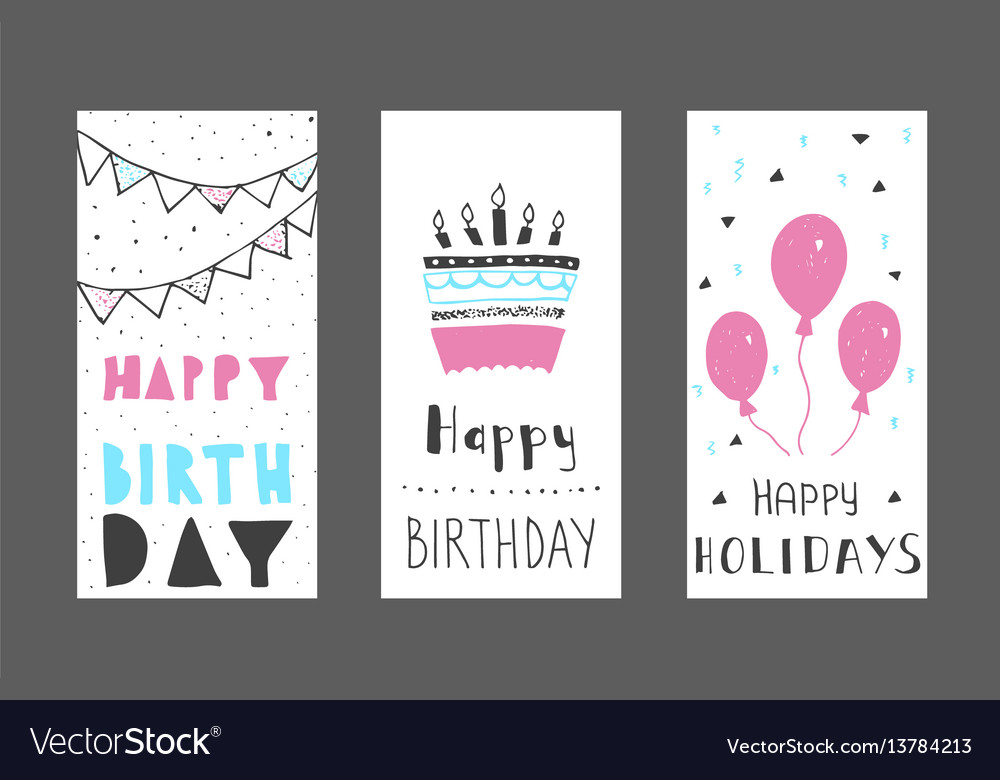 Set Of Birthday Greeting Cards Design Colour Vector Image