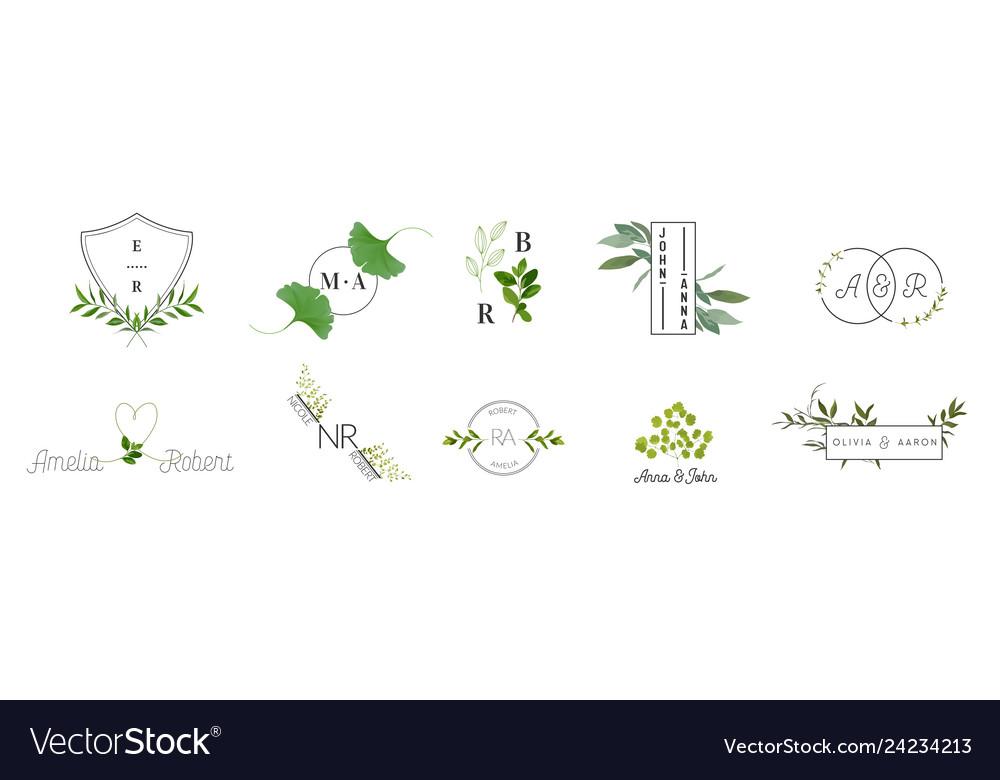 Wedding monogram logos collection floral template