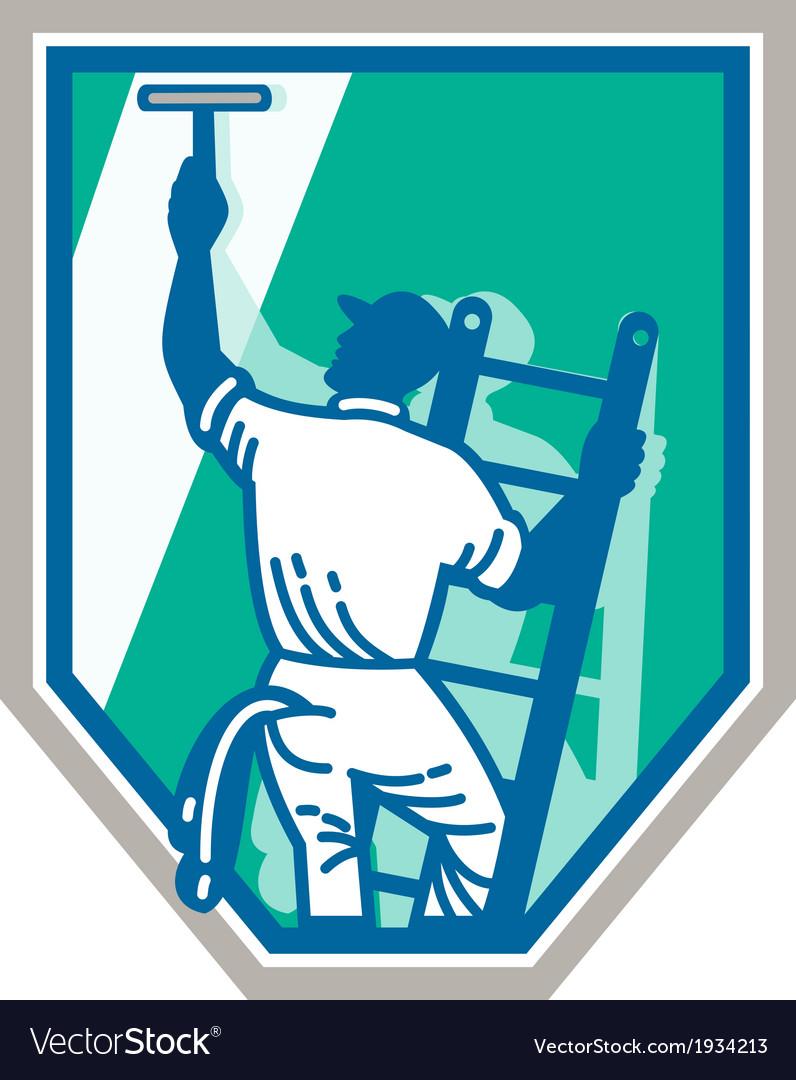 Window Cleaner Worker Shield Retro