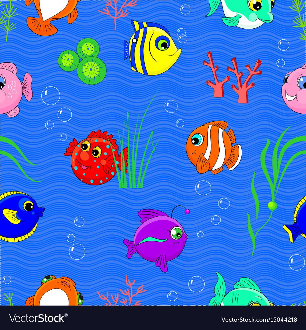Cartoon seamless pattern underwater world vector image